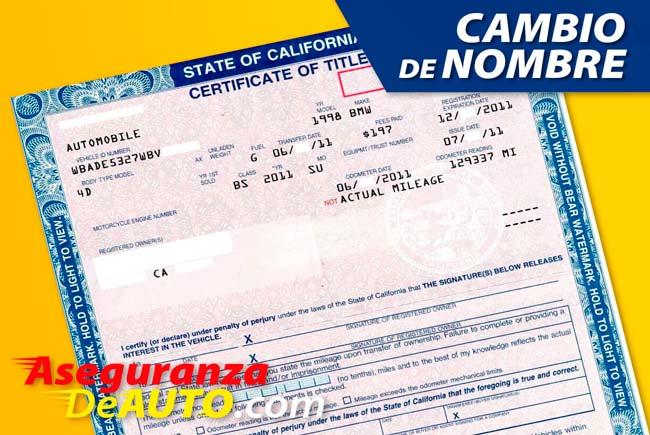 Cambio de Nombre DMV. Title Transfer. DMV Service. DMV registration.