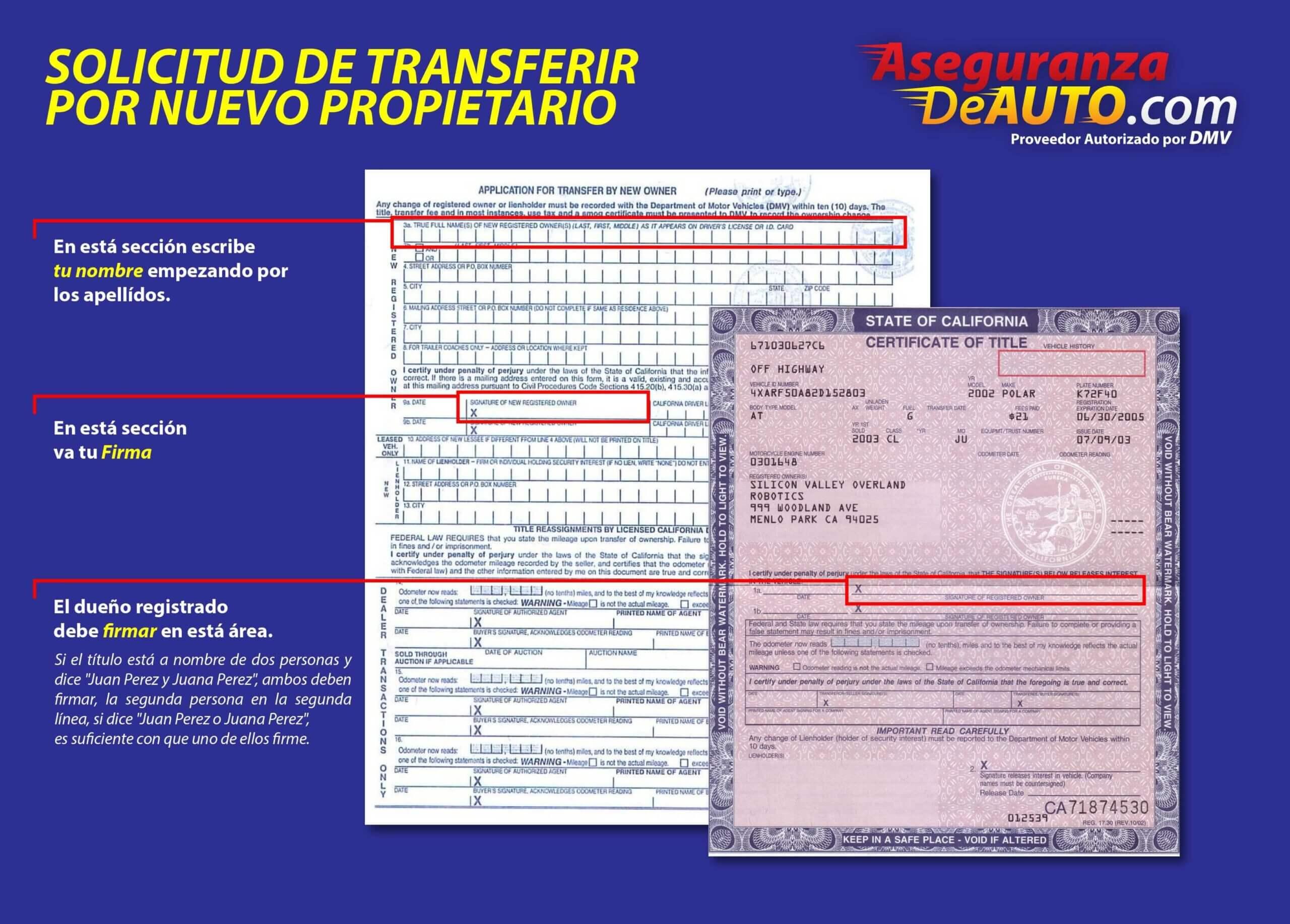 como llenar un titulo de carro en california, cambio de nombre california DMV name transfer how to fill out a california title